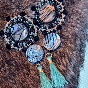 Native abalone shell tassel earrings